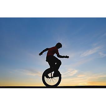 Homme sur monocycle PosterPrint