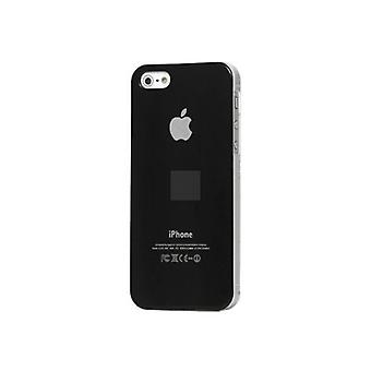 Iphone 5 Hard Plastic Cover Bagetui med Apple-logo - Sort
