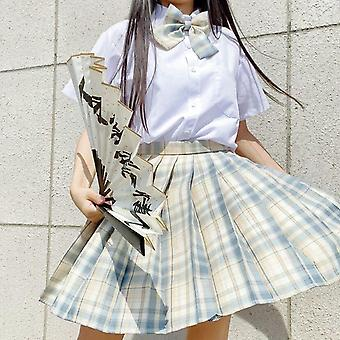 Japanese School High Waist A-line Plaid Skirt Sexy Jk Uniforms