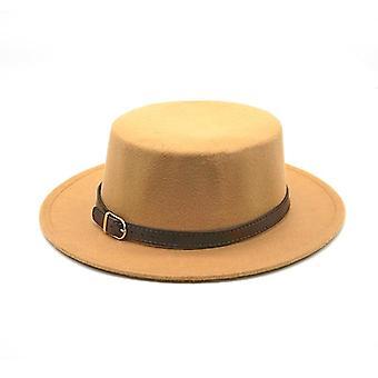 Rétro, Top & Imitation Woolen Felt Fedora Hats, Belt/buckle Decorated Ladies