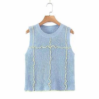 Women O-neck Patchwork Color Vest Tops