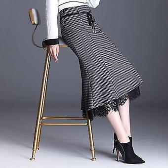 Vintage Καρό Φούστες, Γυναικεία Δαντέλα Patchwork, Υψηλή Μέση, Γοργόνα Φούστα, Slim