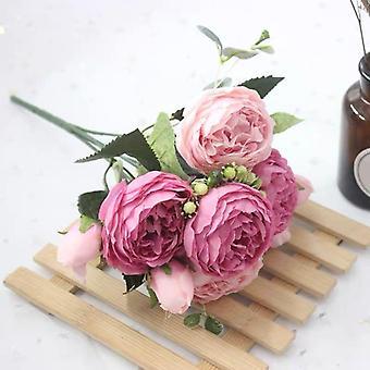 Bouquet Heads Artificial Peony Tea Rose Flowers Camellia Silk For Diy Home