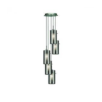 Lámpara Colgante De 5 Luces Duo2 En Cromo Y Vidrio