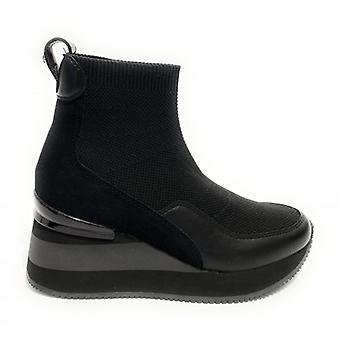 Sneaker Sock Apepazza Hanna Wedge Bottom Fabric/ Black Leather Woman D21ap08