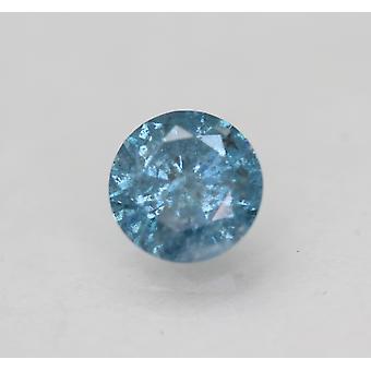 Cert 0,59 karat elävä sininen SI3 pyöreä brilliant parannettu luonnollinen timantti 5,39mm
