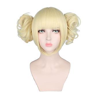 الفتيات cosplay أنيمي شعر مستعار فاتح المشمش الملونة