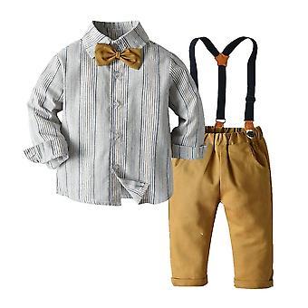 Springs Autumn Long Sleeve Plaid Bowtie Tops + pantalone bretella