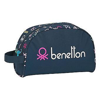 Koulun wc-laukku Benetton Dot Com Navy Sininen