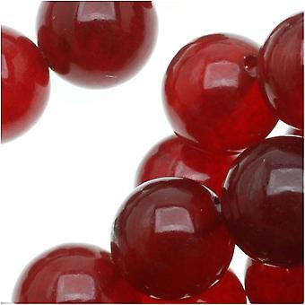 Gemstone Beads, Candy Jade, Round 8mm, 15.5 Inch Strand, Raspberry Red