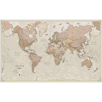 Stor antik världskarta (laminerad)