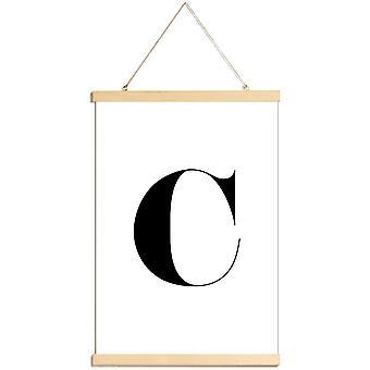 JUNIQE Print - C - Alfabet - Brev Plakat i sort / hvid
