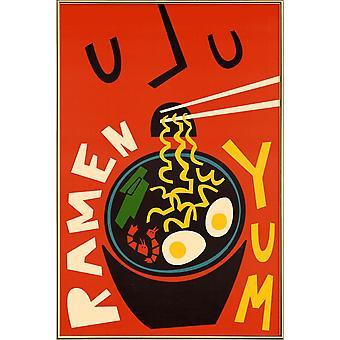 JUNIQE Print - Yum Ramen - Mat & Dryck Affisch i rött