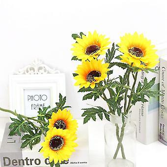 5pcs kunstig blomst solsikke solsikke tørket blomst falsk blomst