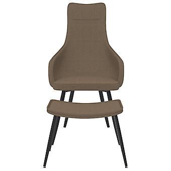 vidaXL fauteuil met voetenbank Taupe stof