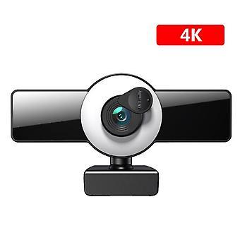 DZK Webcam 4K Full HD Webkamera mit Mikrofon USB Stecker Web Cam für PC Computer Mac Webcams (4K)