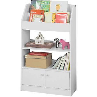 SoBuy blanco madera niños niños almacenamiento exhibición librería gabinete KMB11-W