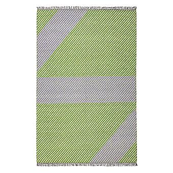 Oslo Osl702 Wool Geometric Stripe Rugs In Lime Green