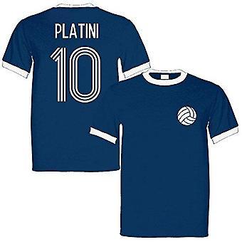 Sporting empire michel platini 10 france legend ringer retro t-shirt navy/white