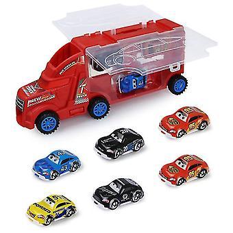 Lasten vetävä seosvarasto kannettava konttiauto, jossa on 6 miniautoa (punainen)