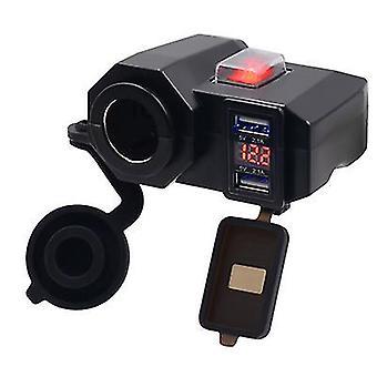 Motorcycle dual usb car charger dual, navigator charger, 12v waterproof cigarette lighter