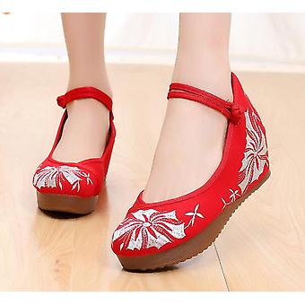 Women's Chinese Ethnic Embroidery High Heel Flower Print Dress Shoes