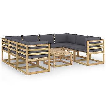 vidaXL 9-tlg. Garten-Lounge-Set mit Kissen Imprägniertes Kiefernholz