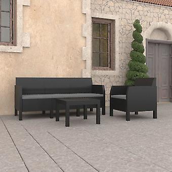 vidaXL 3 pezzi. Set da salotto da giardino con cuscino PP antracite