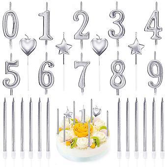 26-teiliges Geburtstags-Kerzen-Set, 10-teilige Nummer 0-9 Glitter Cake Topper-Dekoration mit