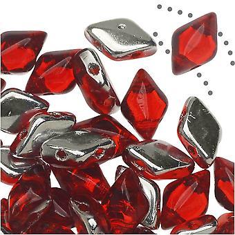 Czech Glass GemDuo, 2-Hole Diamond Shaped Beads 8x5mm, 8 Grams, Backlit Ruby