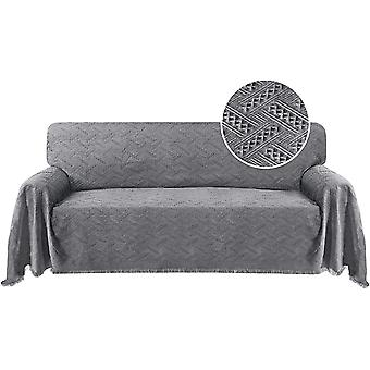 Cotton sofa cover couch cover grey couch protector sofa throw cover for dogs feature geometrical woven jacquard fabric
