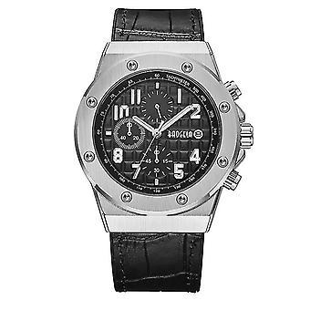 Zegarek kwarcowy typu beczka do wina zegarek męski luminous silikonowy zegarek (1805 Silver Shell Black Face)