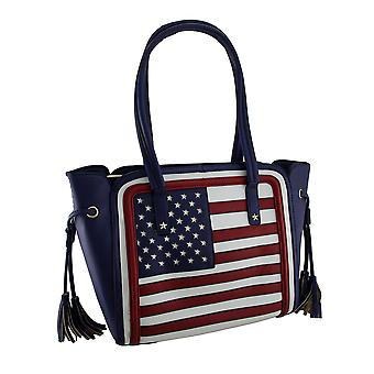 Structured Stars and Stripes American Flag Inspired Faux Leather Handbag