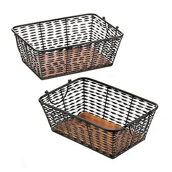 Accent Plus Set of 2 Iron Baskets with Wood Base, Pack of 1