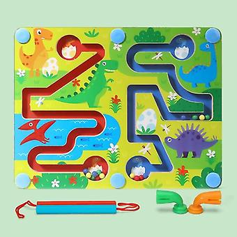 כדור מגנטי מבוך צעצועי עץ שמאל וימין המוח פאזל משחק אימון מוטורי עדין צעצועים חינוכיים