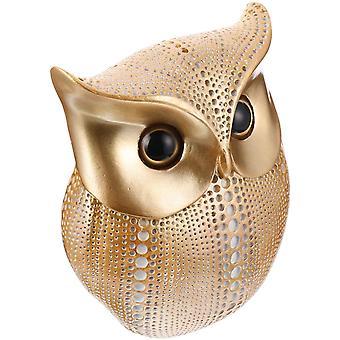Pöllö patsas sisustus metalli kultainen patsas kotitoimisto nasta korut puutarha
