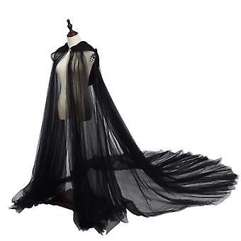 Wedding Cloak White/ivory/black Tulle Hooded Long Bridal Shawl Coat Women Cape Coat Simple Coat Cloak