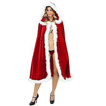 Christmas Costumes Women Girls Velvet Hooded Cloak Red Robe Mrs Santa Claus Costume Cape