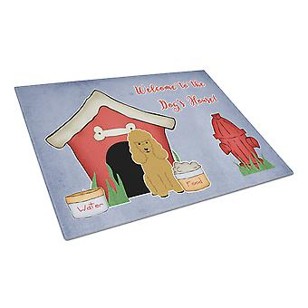 Dog House Collection Poodle Tan Glass Cutting Board Large