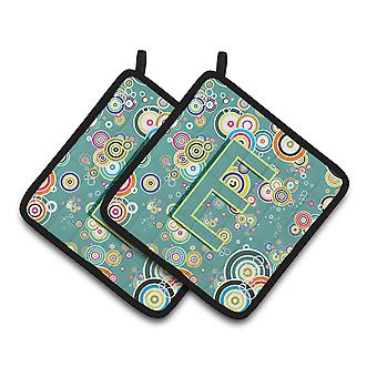 Letter E Circle Circle Teal Initial Alphabet Pair of Pot Holders