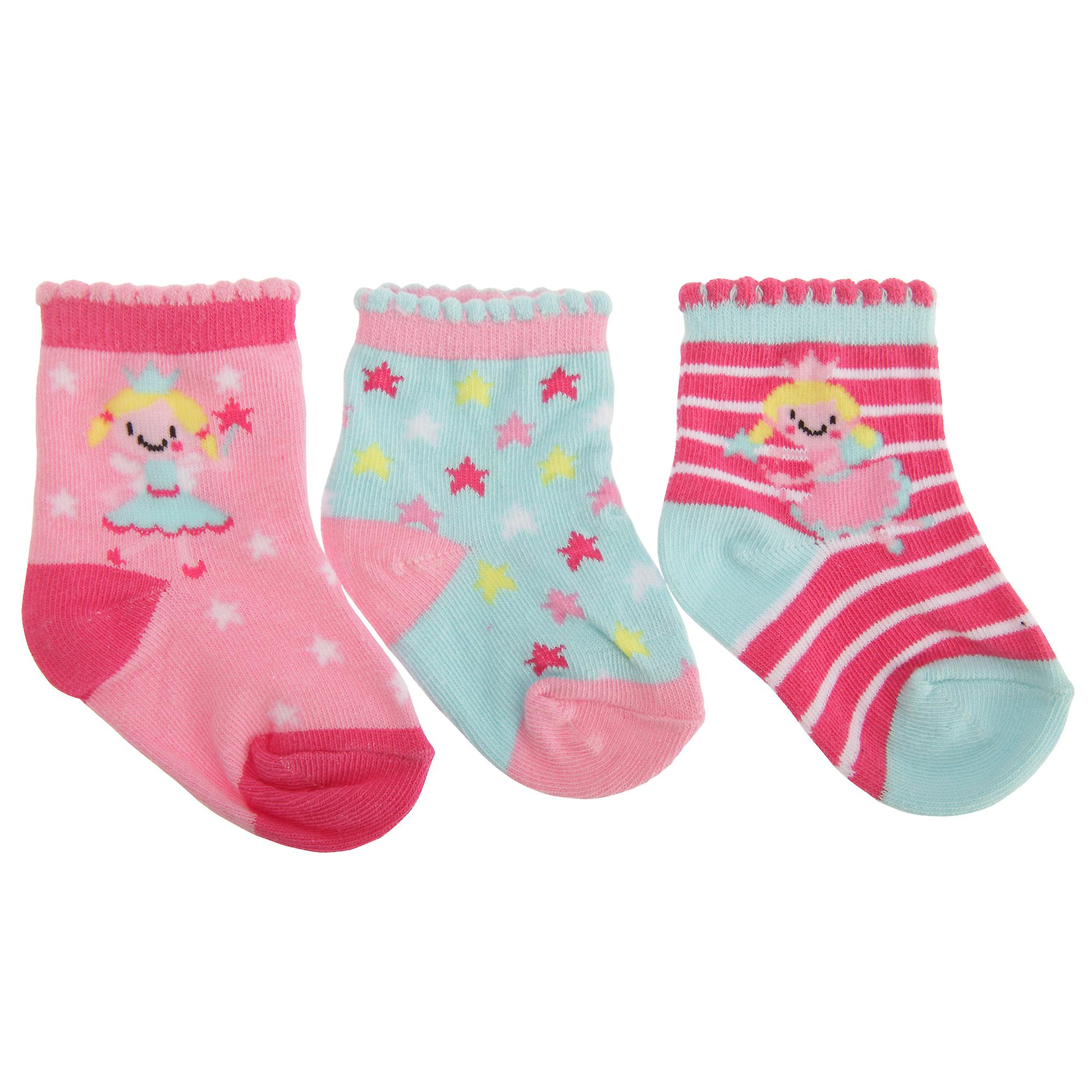 Baby Girls Cotton Rich Assorted Fairy Design Socks (Pack Of 3)