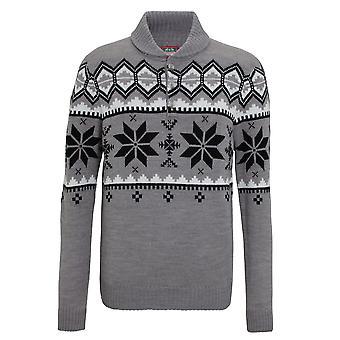 Christmas Shop Mens sjal krage stickad Fairisle Design Jumper