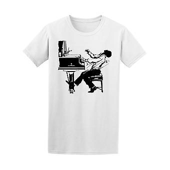Jazz Pianist In Black & White Tee Men's -Image by Shutterstock