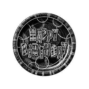 """Födelsedag glitter svart & Silver Happy Birthday svart Prisma 9 """"tallrikar"""