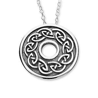 Sterling Silver Scottish Celtic Eternity Knotwork Oxidised Hand Crafted Necklace Pendant - P1116