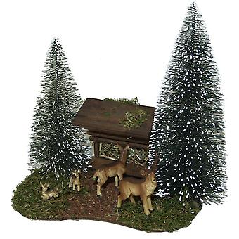 Feeding place a family of deer with rack and FIR for Christmas Nativity crib accessories