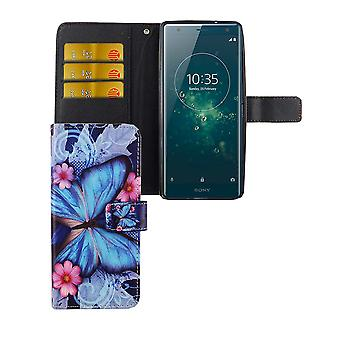 Mobile case bag for mobile phone Sony Xperia XZ2 blue butterfly
