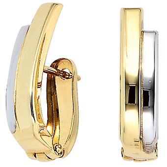 Dwukolorowe hoop kolczyki część rod galwanicznie 333 złoty żółty złote kolczyki złote kolczyki złote