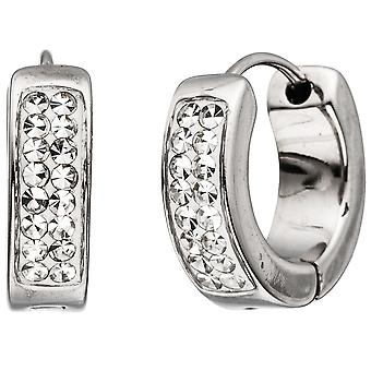 Stainless steel hoops around stainless steel with Crystal element earrings Edelstahlcreolen