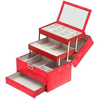 Davidt's jewelry case jewelry box red Castle mirror lockable